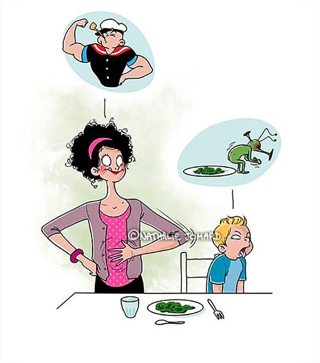Ты должна притворяться, что обожаешь брокколи, даже если ненавидишь ее. Нужно быть примером для ребенка! 💪