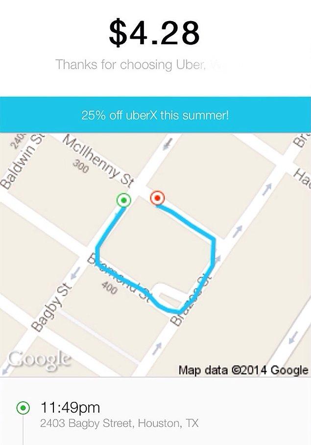 «После веселенькой ночи я проснулся и обнаружил свою вчерашную поездку на такси. Спасибо тебе, Uber, что ограбил меня и предоставил подробную карту» 😂😂😂