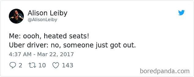 Клиент: «Ооо, сидения с подогревом!» Водитель Uber: «Да нет, это предыдущий клиент нагрел» 🔥