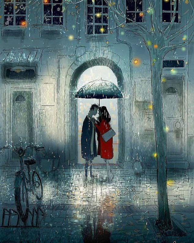 Прятаться от дождя под одним зонтом