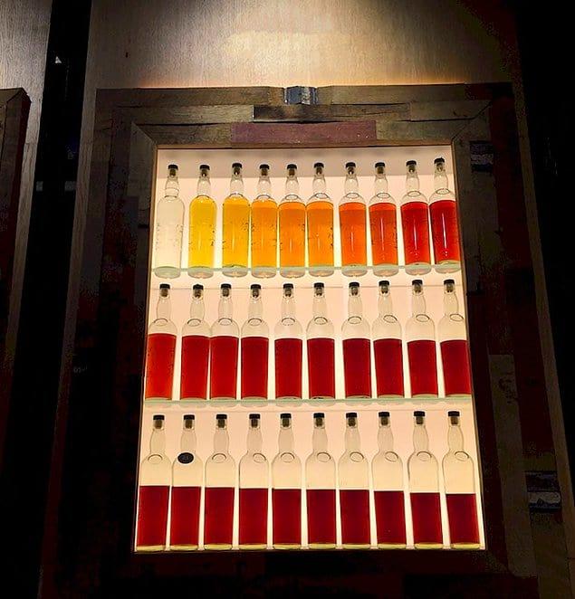 Эти бутылки виски расставлены по степени выдержки. Каждая новая на год старше предыдущей 👌