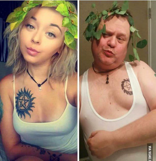 Отец троллит дочь, пародируя ее селфи