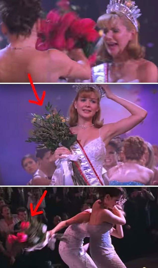 """В фильме """"Мисс Конгениальность"""" Шерил бьет Грейси букетом, и все лепестки отрываются, но в следующих кадрах букет имеет все такой же цветущий вид"""