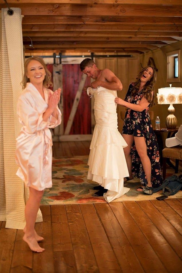 И тогда невеста решили разрядить обстановку и пошутить над Валом
