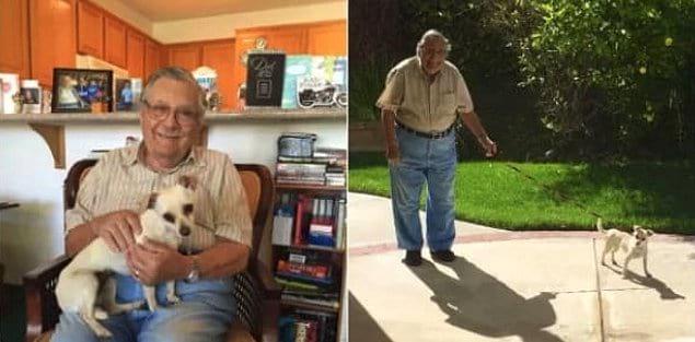 «Мой дедушка только что завел собаку, и его сиделка делает эти фотографии, чтобы отправить мне 😭😭😭»