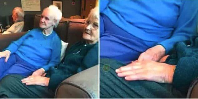«Свозила бабушку в дом по уходу за больными деменцией, где она встретила эту женщину (слева) с таким же именем. Все время, пока они смотрели телевизор, она держала бабушку за руку и повторяла: «Не бойся, теперь у тебя есть я»
