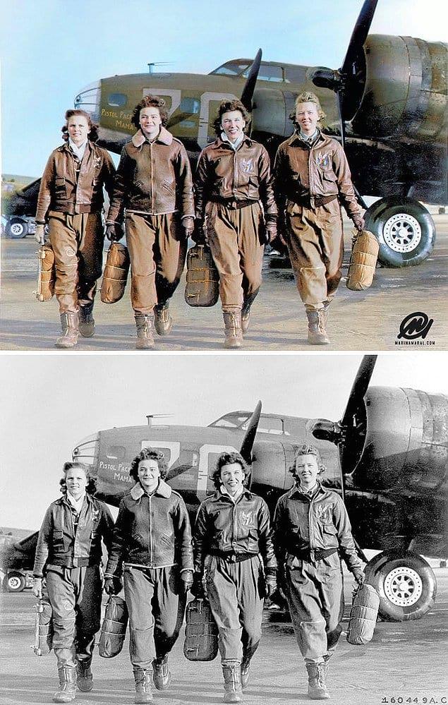Четыре женщины-пилота, покидающие своё воздушное судно, Локборн, США, 1944 год.