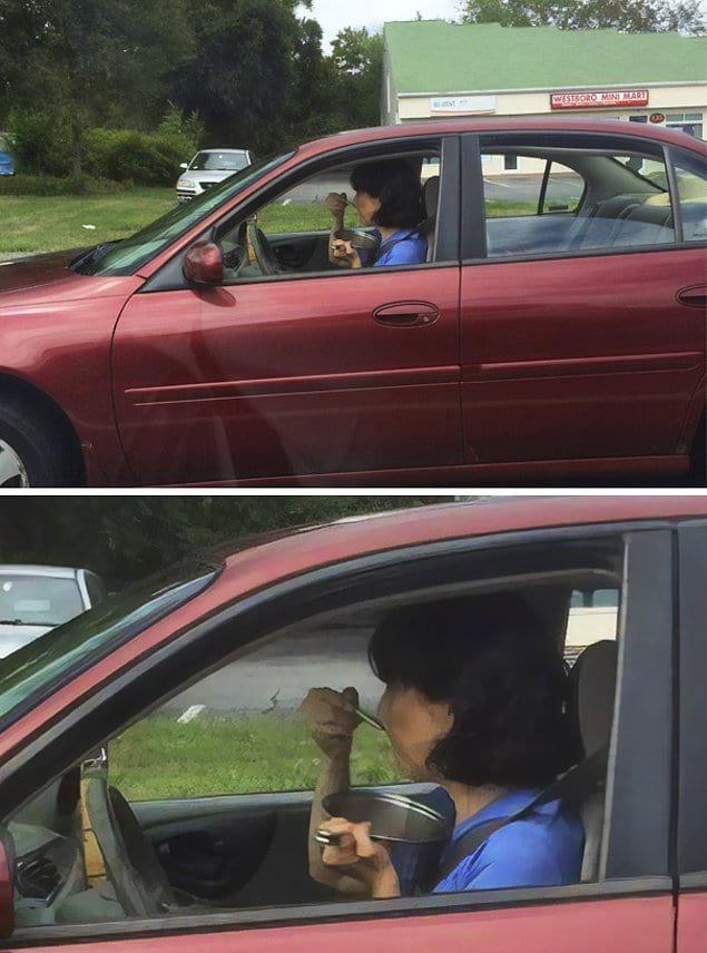 Да, эта женщина ела прямо из кастрюли сидя за рулём.