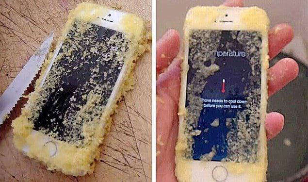 Это как же надо плюнуть в карму, чтобы случайно запечь свой iPhone в пироге?