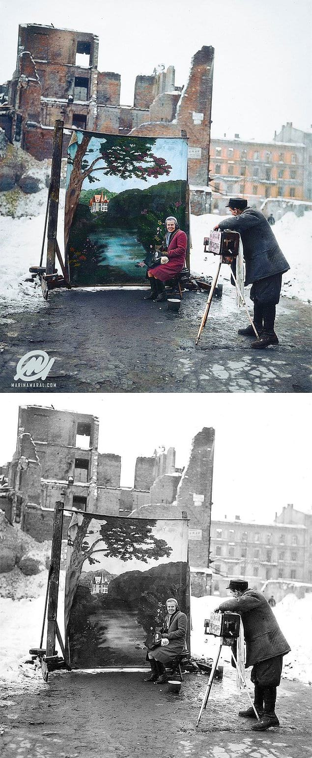 Фотограф использует фальшивый фон, чтобы закрыть руины города после Второй мировой войны, Варшава, Польша, 1946 год.