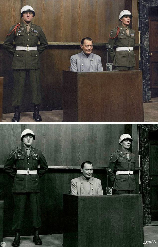 Герман Геринг на Нюрнбергском процессе, 1946 год.