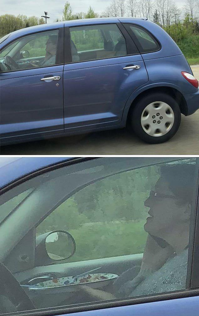 Как эта дама умудряется вести машину, держать тарелку с вилкой и ножом и разговаривать по телефону?