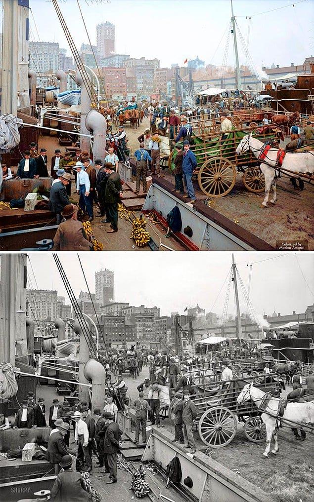 Корабельные доки, Нью-Йорк, 1890 - 1910.