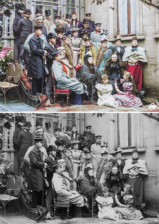 Королева Виктория и её семья, в том числе король Эдуард VII, Царь Николай II, Царица Александра, Кайзер Вильгельм II и императрица Виктория Саксен-Кобург-Готская на свадьбе в Кобурге, Германия, 1894 год.