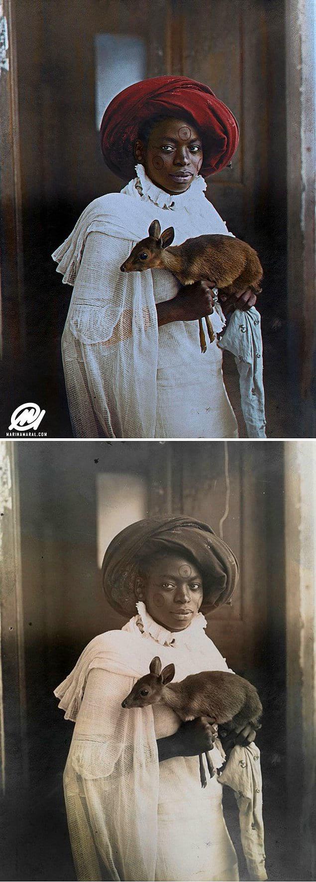 Молодая кенийская женщина держит в руках животное Дикдики, Момбаса, 1909 год.