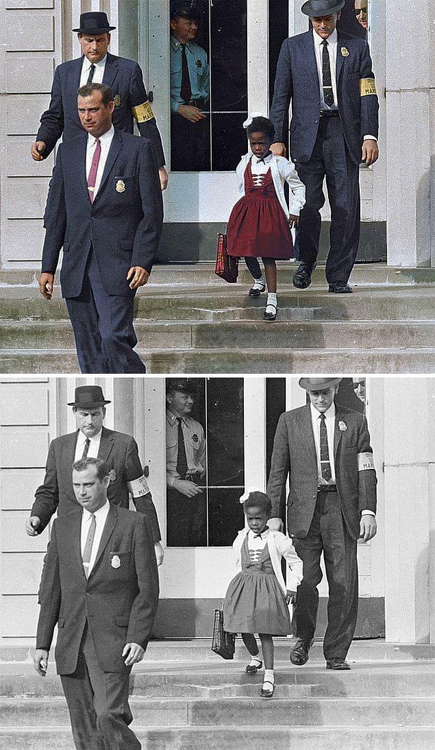 Руби Бриджес в сопровождении американских маршалов для учёбы в школе для белых, 1960 год.