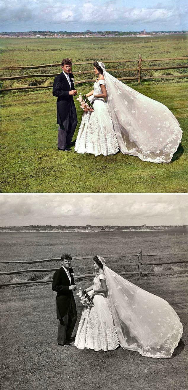 Сенатор Джон Ф. Кеннеди и Жаклин Бувье Кеннеди в день своей свадьбы, 12 сентября 1953 года.