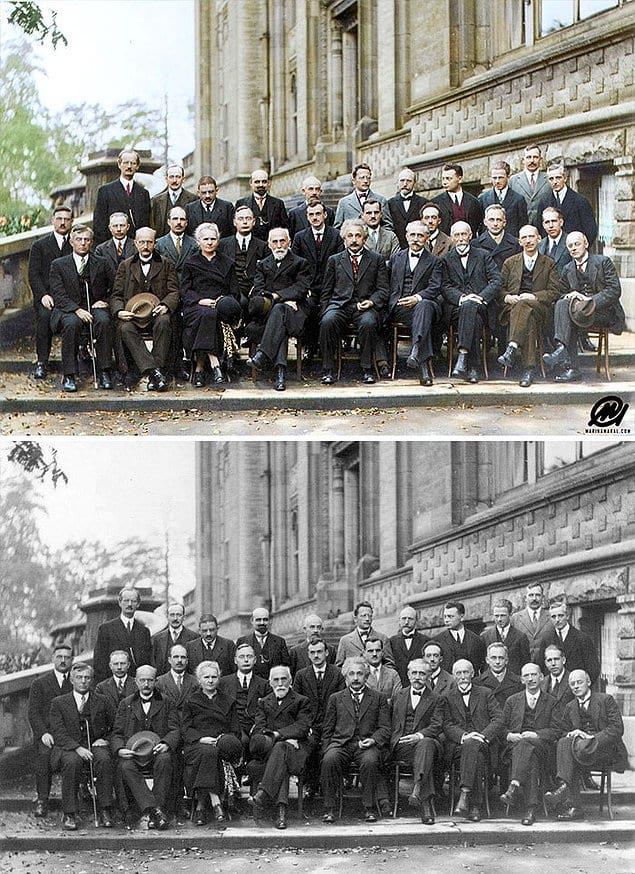 """Участники 5-й Сольвейской конференции по квантовой механике """"Электроны и фотоны"""", 1927 год."""