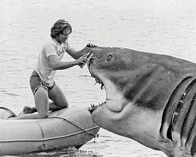 Визажист по спецэффектам чистит морду акулы. «Челюсти», 1975 год.