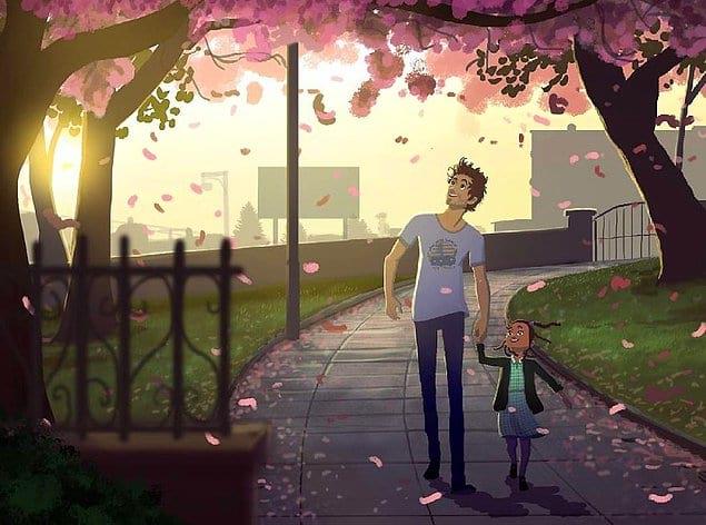 Гулять с папой в парке.