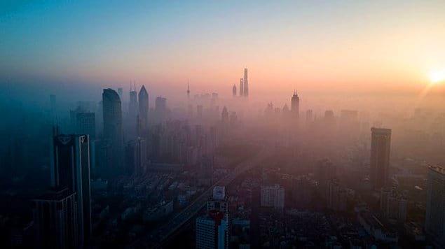 Рассвет в Шанхае.