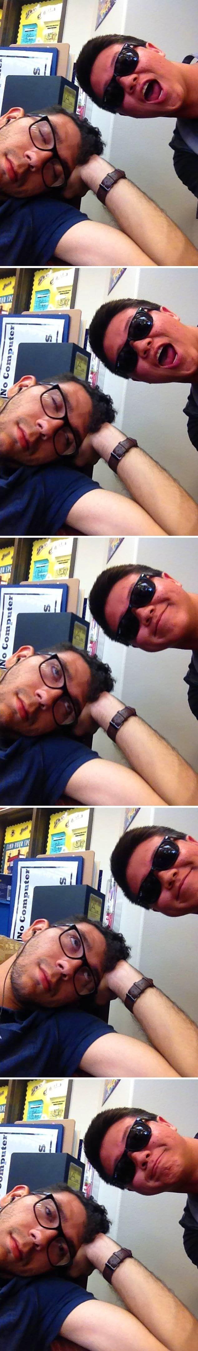 """""""Заснул в библиотеке. Этот парень взял мой телефон и решил сделать совместное селфи. Он успел сделать несколько снимков, пока я не проснулся"""""""