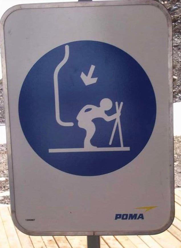 Знак для лыжного подъёмника вызывает, конечно, много вопросов ?