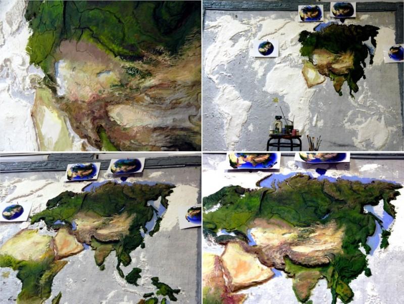 Житель Надыма сделал объёмную карту мира из пустой стены в своём гараже. Она и в темноте светится!