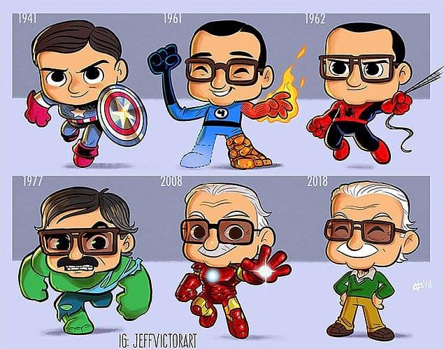 Стэн в роли своих героев в разные годы.