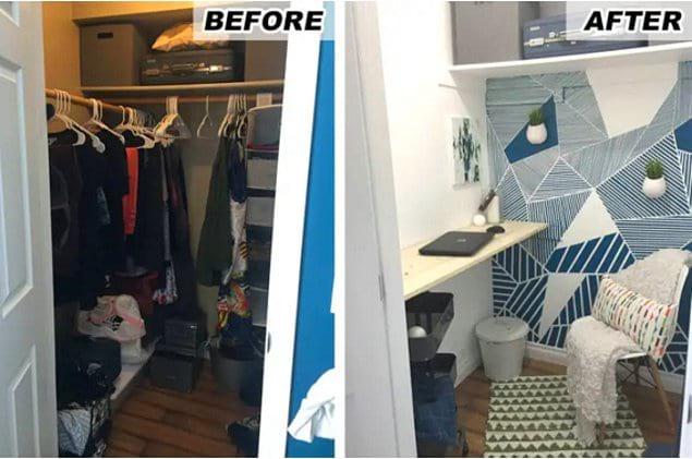 Минус неопрятный шкаф, плюс минималистское рабочее пространство.