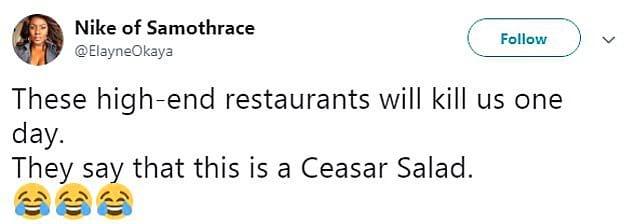 Эта кенийская женщина, поделившаяся своим опытом в социальных сетях, говорит: «Эти дорогие рестораны убьют нас однажды. Они утверждают, что это салат Цезарь».