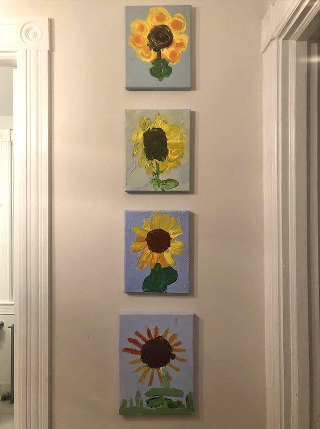 """""""Каждый из моих 4-х детей нарисовал один и тот же подсолнух в свои 5 лет""""."""