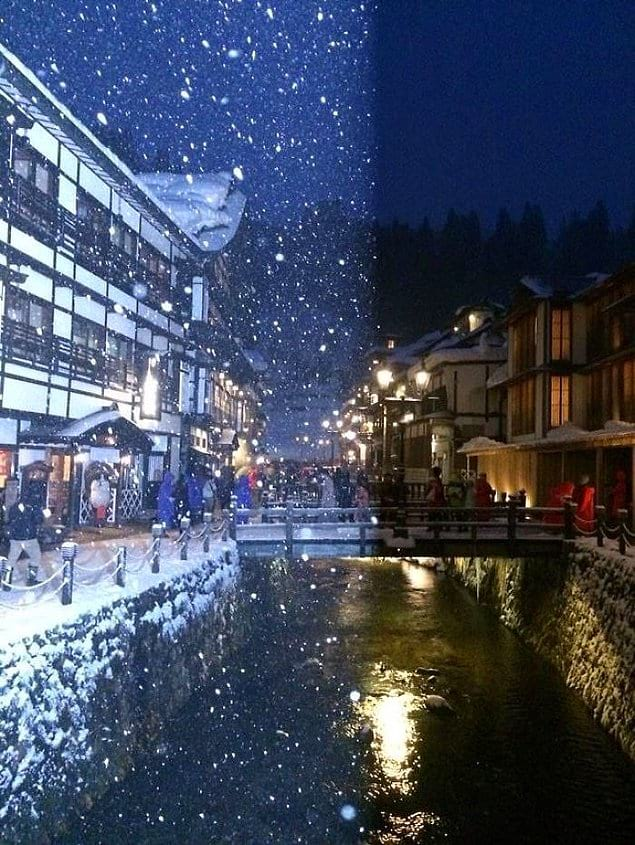 Когда снимаешь, как падает снег в Японии, и в твой кадр попадает чужая вспышка.