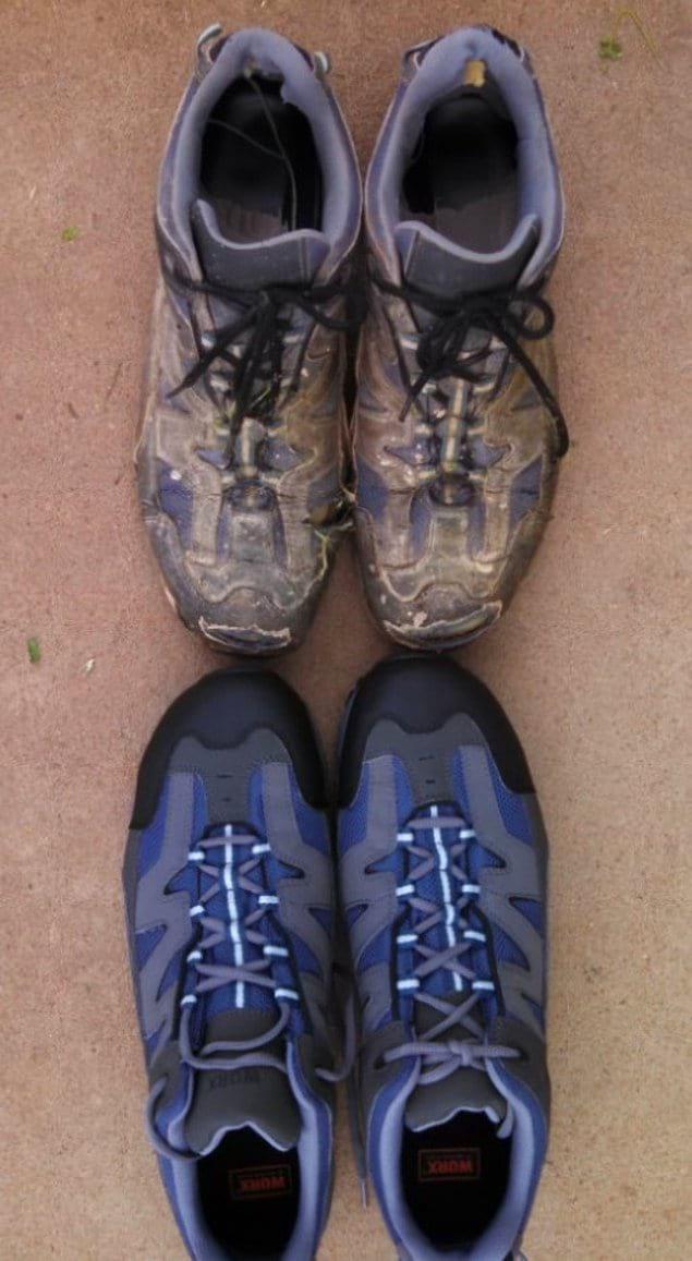 Новая пара рабочей обуви в сравнении со старой парой, которую носили 15 месяцев
