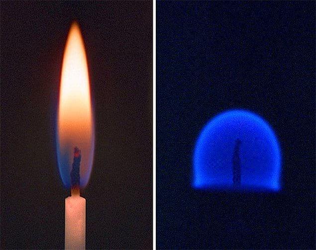 Огонь от свечи на Земле в сравнении с огнем в невесомости на МКС.