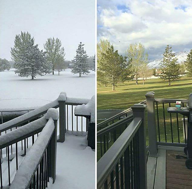 Погода в штате Юта: вчера и сегодня.