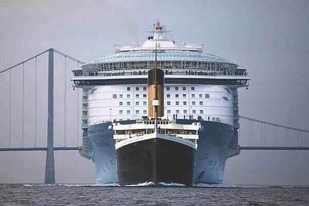 """Размеры """"Титаника"""" и современного круизного лайнера"""