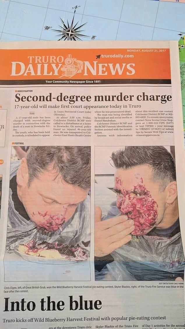"""Редактор с """"черным"""" чувством юмора: """"Давайте-ка вставим фото с конкурса по поеданию пирогов прямо под статьей про убийство!"""""""